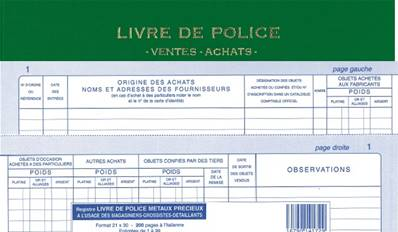 livre registre de police achats ventes vert. Black Bedroom Furniture Sets. Home Design Ideas